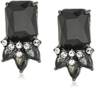 "Carolee Midnight Tower"" Emerald Shape Cluster Clip-On Earring"