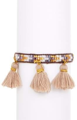 BEIGE Zacasha Multi Color Beaded & Tassel Bracelet