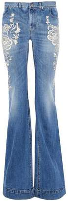 Roberto Cavalli Embroidered Faded Mid-Rise Flared Jeans