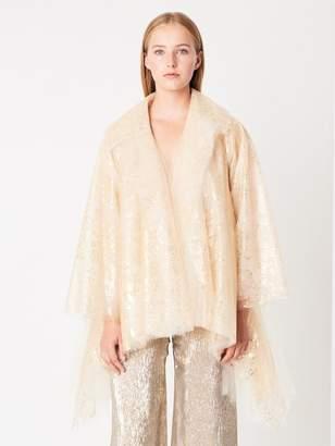 Oscar de la Renta Asymmetric Foil-Splattered Tulle Jacket