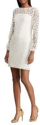 Lauren Ralph Lauren Slim Fit Floral Lace Long Sleeve Dress