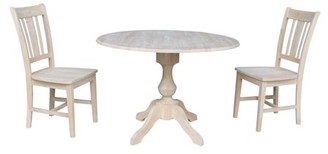 """INC International Concepts 42"""" Round Top Pedestal Dining Table with Two San Remo Chairs - Unfinished"""