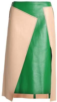 DKNY Asymmetric Two-Tone Leather Skirt