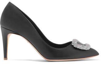 Rupert Sanderson Nada Swarovski Crystal-embellished Leather Pumps - Black