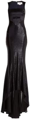 Esteban Cortazar Square-neck contrast-bodice stretch-lamé gown