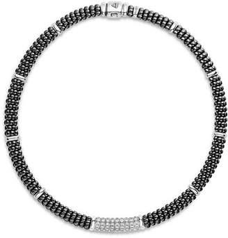 "Lagos Sterling Silver Black Caviar Diamond & Black Ceramic Station Necklace, 16"""