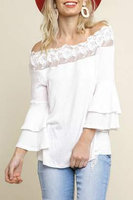 Umgee USA Layered-Sleeve Lace-Edge Ots