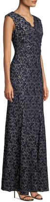 Tahari ASL Metallic Stretch-Lace Gown