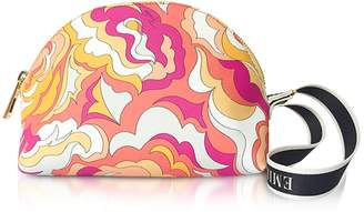 Emilio Pucci Coral and Sand Coated Canvas Cosmetic Case/Pouch