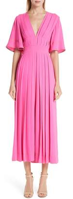 Roksanda Pleated Silk Georgette Midi Dress