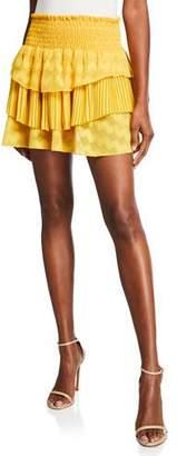 Ramy Brook Ruth Tiered Smocked Mini Skirt