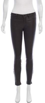 J Brand Leather Mid-Rise Skinny Pants