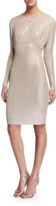 Alexia Admor Metallic Jewel-Neck Long-Sleeve Dress