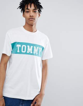 Tommy Jeans cut & sew panel logo t-shirt in white