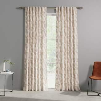 west elm Cotton Canvas Scribble Lattice Curtains (Set of 2) - Rosette