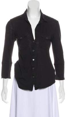 James Perse Long Sleeve Button-Up Top