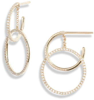 Ef Collection Interlocking Pave Diamond Hoop Earrings