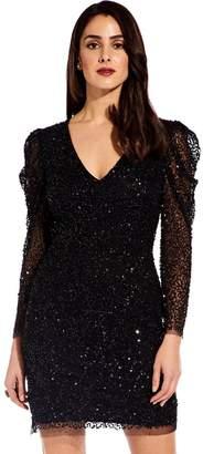 Adrianna Papell Black Beaded Mini Dress