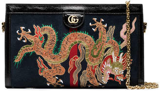 Black dragon embroidered suede shoulder bag