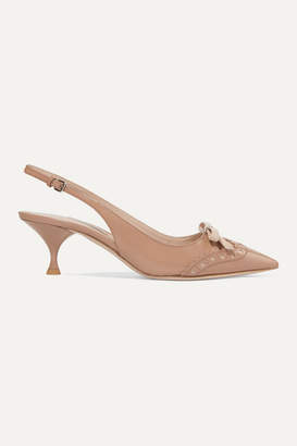 Miu Miu Bow-embellished Patent-leather Slingback Pumps - Neutral