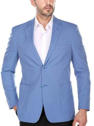 Verno Men's Summer Blue and White Textured Pinstripe Slim Fit Italian Styled Blazer