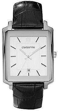 Claiborne Mens Black Leather Strap Square Watch
