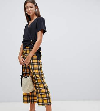 New Look crop pants in mustard check
