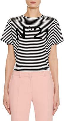 No.21 No. 21 Striped Crewneck Short-Sleeve Logo T-Shirt