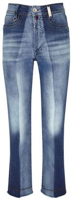 High Up-Start Faded Straight-leg Jeans