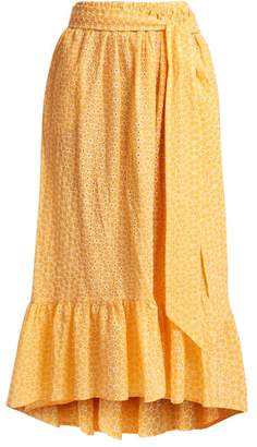 Lisa Marie Fernandez Nicole Broderie Anglaise Cotton Skirt - Womens - Orange White
