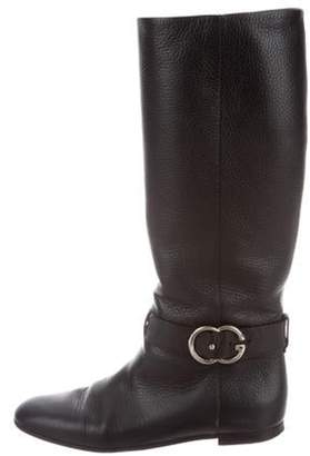 Gucci Leather Round-Toe Boots Black Leather Round-Toe Boots