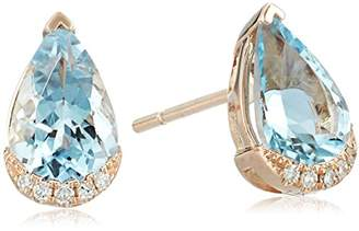 Effy Womens 14K Rose Gold Aquamarine Stud Earrings