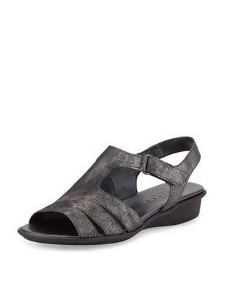 Sesto Meucci Eileen Leather Demi-Wedge Sandal, Black $250 thestylecure.com
