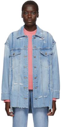 Sjyp Blue Denim Destroyed Jacket