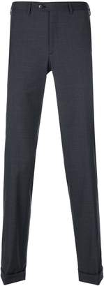 Brioni checkered slim fit trousers