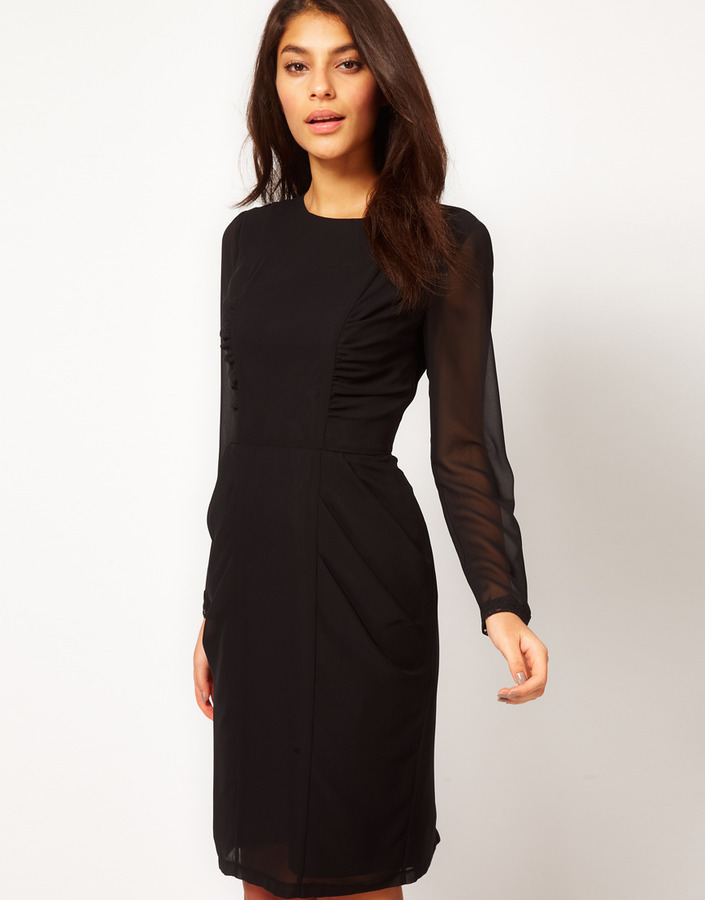 Asos Pencil Dress With Ruched Side Panels And Lace Cuff Detail