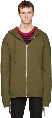 Faith Connexion Green Laced Zip-Up Hoodie $550 thestylecure.com