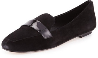 Delman Fab Patent-Strap Suede Loafer, Black $228 thestylecure.com