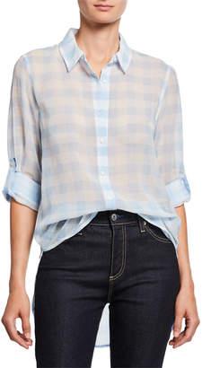 Calvin Klein Big Gingham Button-Front Blouse
