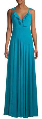 Fame & Partners The Cora V-Neck Sleeveless A-Line Heavy Georgette Gown w/ Ruffled Trim