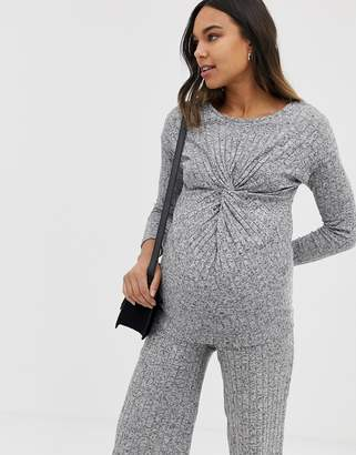 New Look Maternity rib twist top co-ord in grey