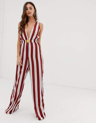 PrettyLittleThing belted jumpsuit in red and cream stripe