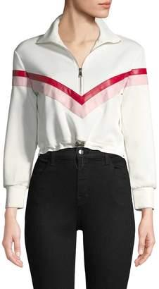 RENVY Women's Track Half Zip Cropped Sweater