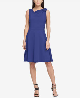 DKNY Draped Bow Fit & Flare Dress
