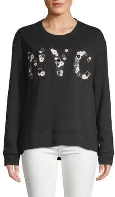 Kenneth Cole New York Embellished Cotton-Blend Sweatshirt