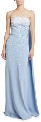 Oscar de la Renta Strapless Embroidered Silk Georgette Evening Gown w/ Cape