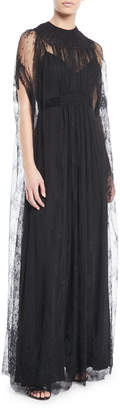 Valentino Lace-Cape A-Line Evening Gown