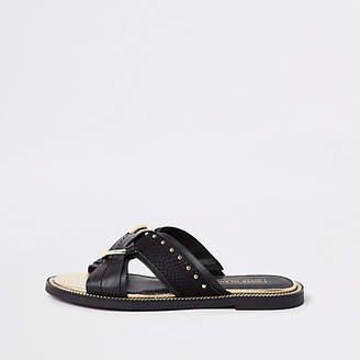 River Island Black cross studded sandals