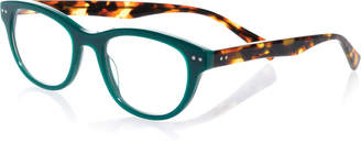 Eyebobs Sugar Square Colorblock Readers, Green/Tortoise