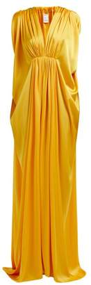 Maison Rabih Kayrouz Ruched Draped Satin Gown - Womens - Yellow